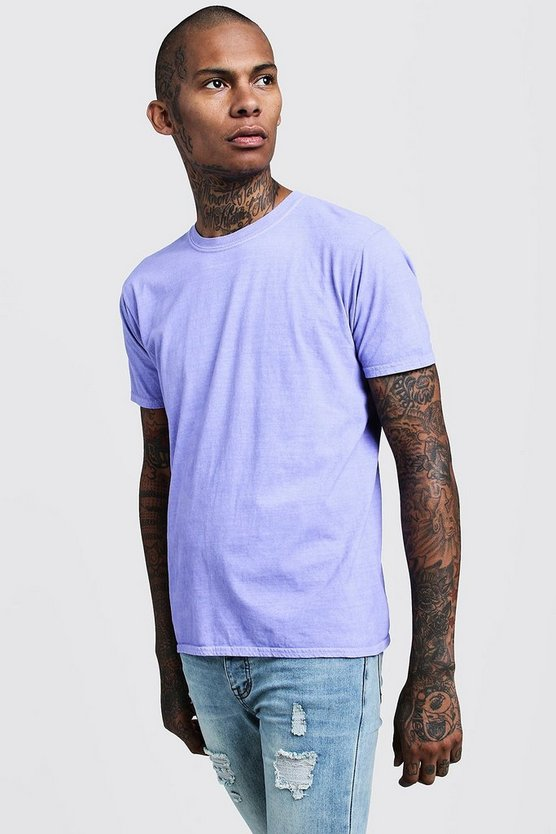 Mens Purple Overdyed Crew Neck T-Shirt