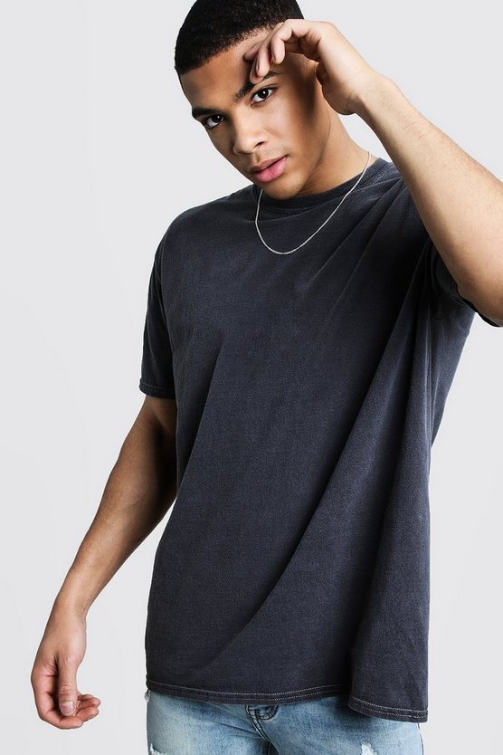 Grey Over Dyed Crew Neck T-Shirt