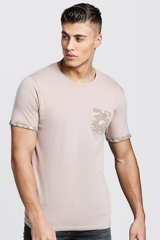 Crew Neck T-Shirt With Camo Pocket