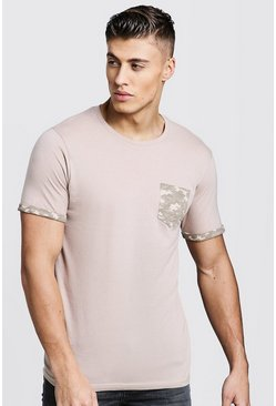 Mens Stone Crew Neck T-Shirt With Camo Pocket