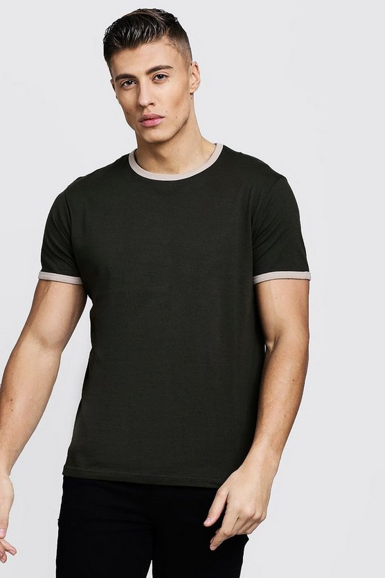 Mens Khaki Crew Neck Ringer T-Shirt