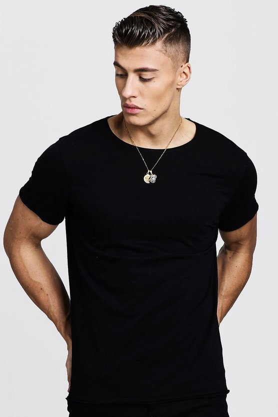 Mens Black Crew Neck T-Shirt With Hem Detail