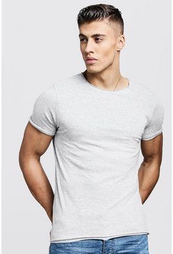Herr Grey marl Crew Neck T-Shirt With Hem Detail
