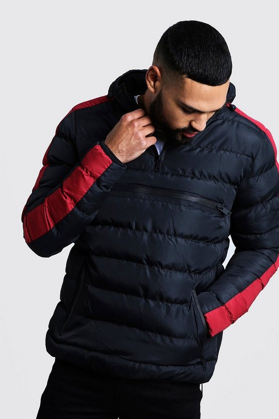 Mens Red Contrast Panel Over Head Puffer