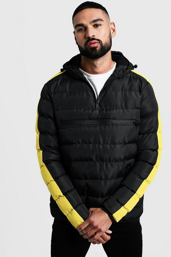 Mens Yellow Contrast Panel Over Head Puffer