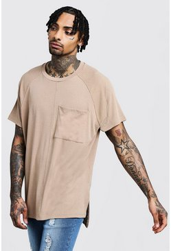 Mens Stone Loose Fit Step Hem Ribbed Utility T-Shirt