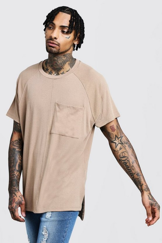Mens Loose Fit Step Hem Ribbed Utility T-Shirt