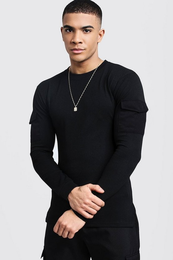 Black Ribbed Muscle Fit Long Sleeve Tee With Pockets