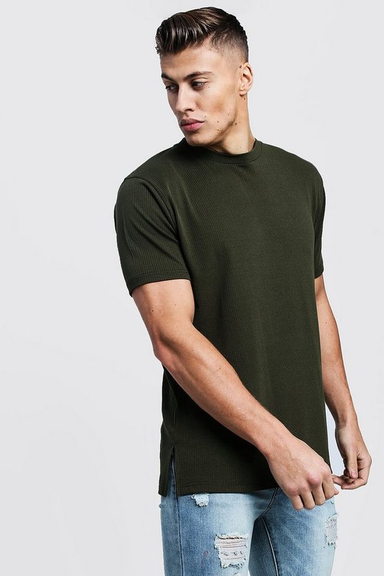 Mens Khaki Muscle Fit Split Hem Ribbed T-Shirt