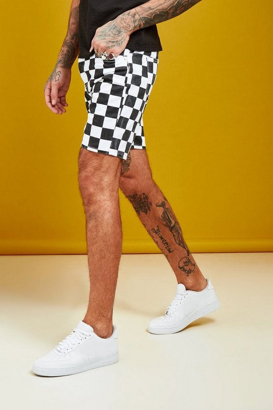 Slim Fit Checkerboard Print Denim Shorts