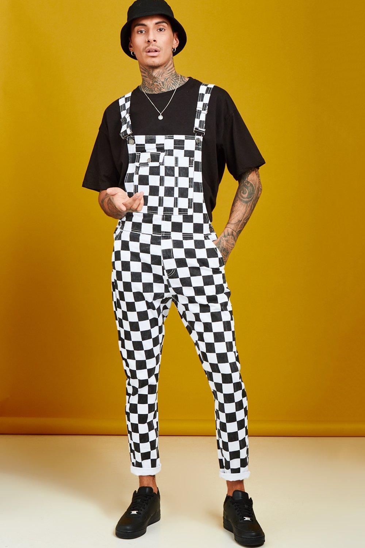 Slim Fit Checkerboard Print Dungarees
