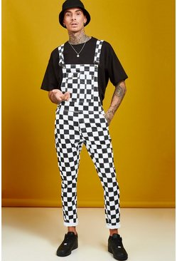 Mens Black Slim Fit Checkerboard Print Dungarees