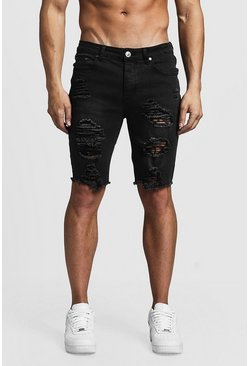 Mens Washed black Skinny Fit Long Distressed Denim Shorts