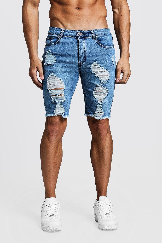 mens skinny fit long distressed jean shorts - grey