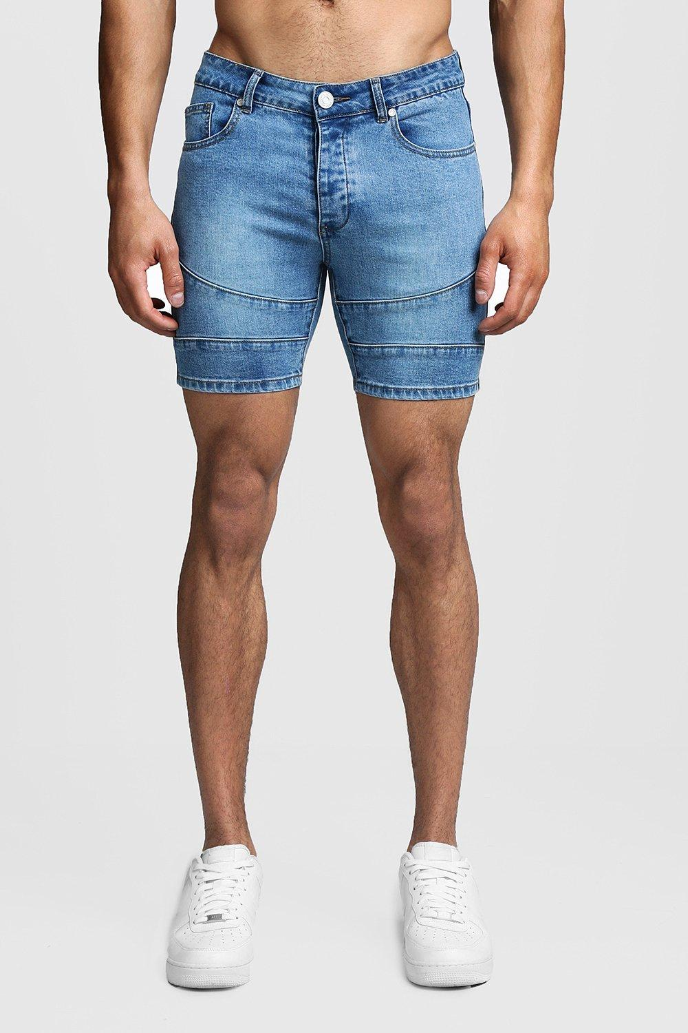 Skinny Fit Biker Panelled Denim Shorts