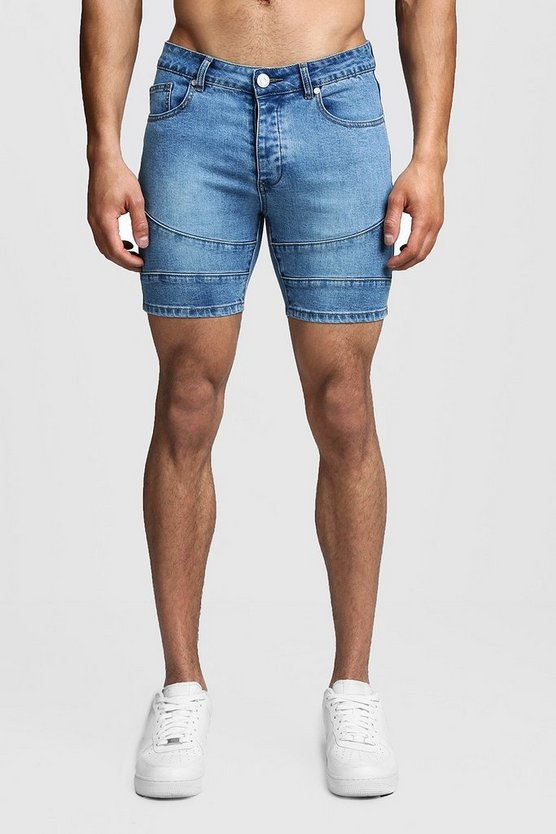 Mens Washed blue Skinny Fit Biker Panelled Denim Shorts