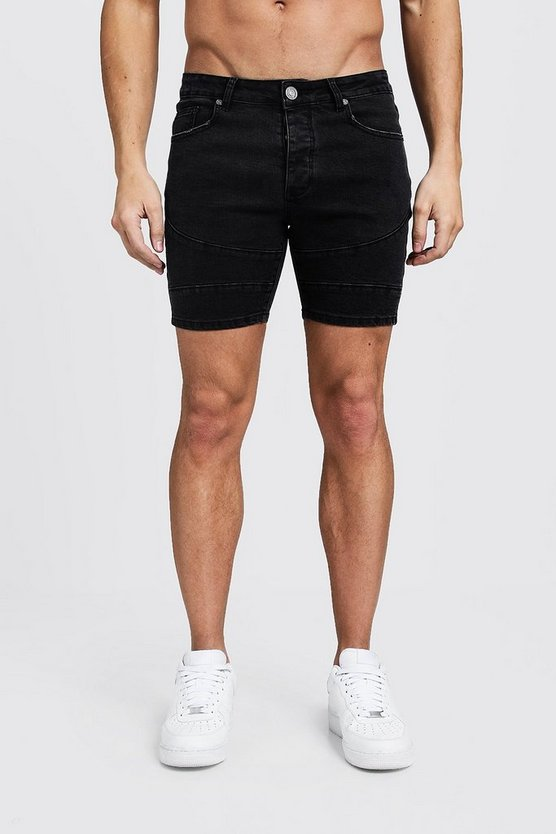 Mens Washed black Skinny Fit Biker Panelled Shorts