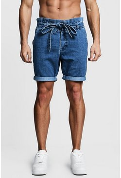 Mens Blue Slim Fit Denim Shorts With Paper Bag Waist
