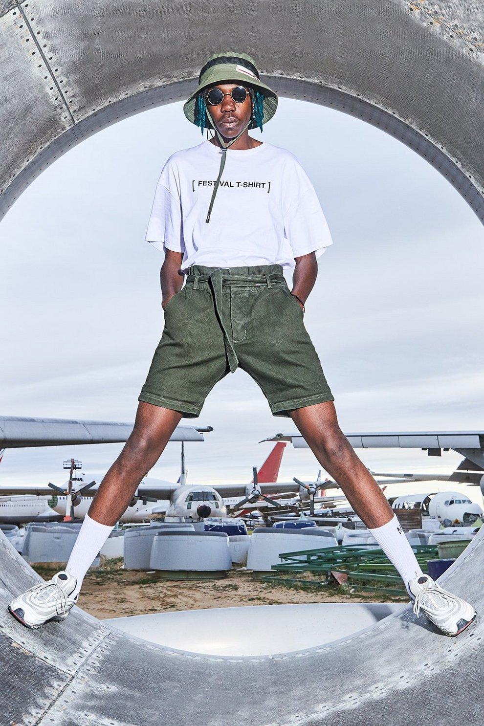 1950bf03af Mens Khaki Slim Fit Denim Shorts With Paper Bag Waist. Hover to zoom