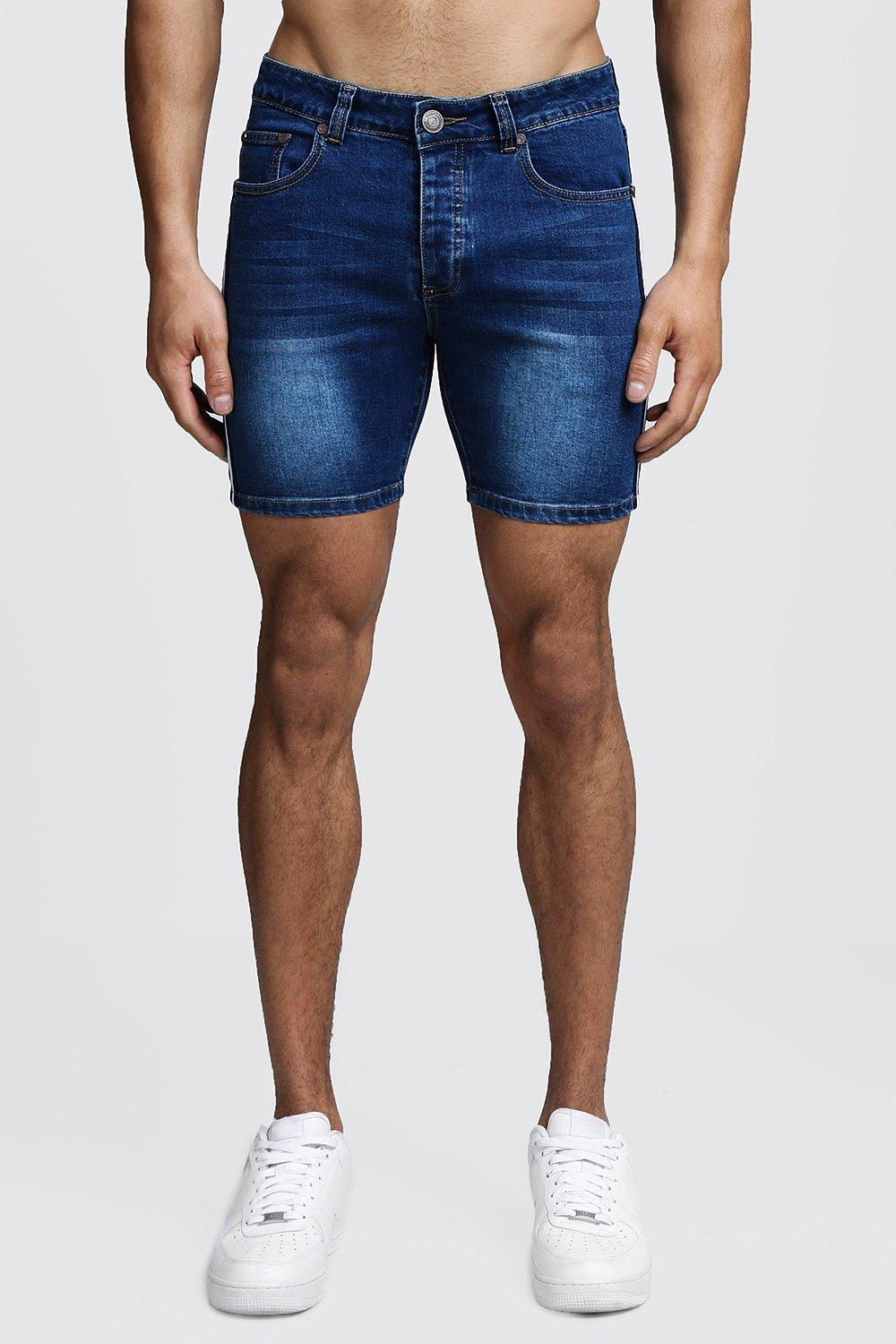 Skinny Fit Denim Shorts With Tape Detail