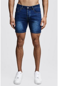 Mens Dark blue Skinny Fit Denim Shorts With Tape Detail