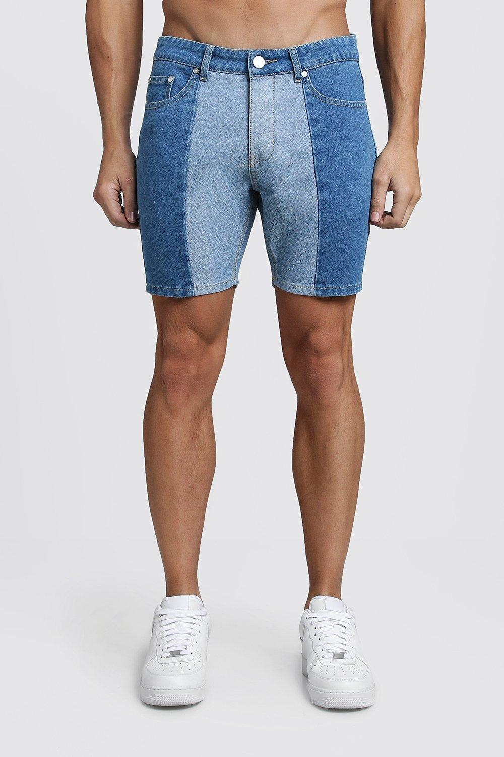 Slim Fit Contrast Panel Denim Shorts