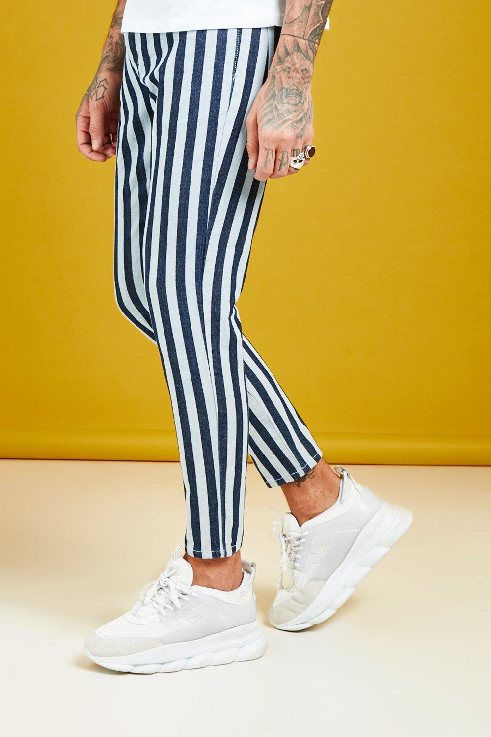 Skinny Fit Tonal Stripe Detail Denim Jeans