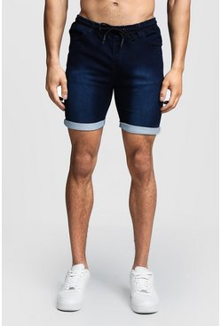 Mens Indigo Skinny Fit Jersey Denim Shorts