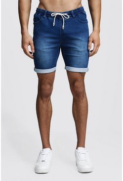 Mens Mid blue Skinny Fit Jersey Denim Shorts