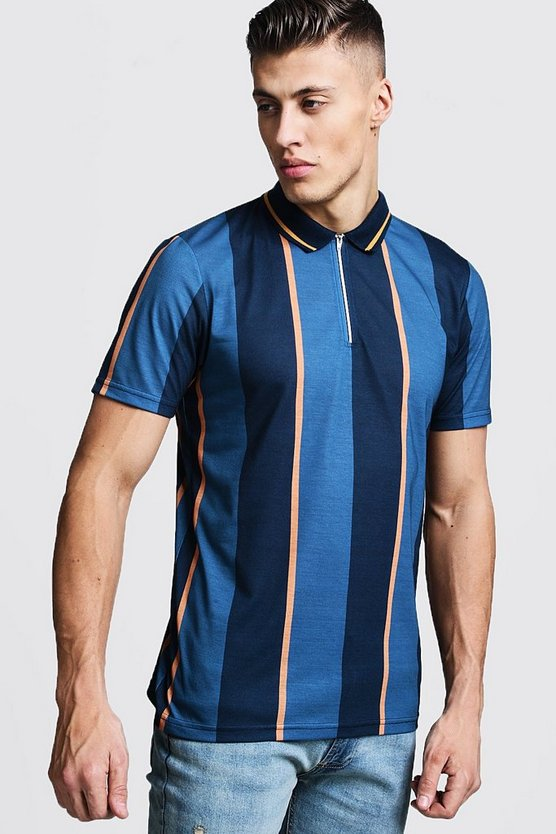Teal Vertical Stripe Zip Through Polo