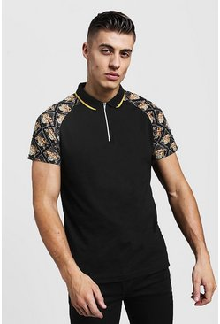 Mens Black Baroque Sleeve Print Polo With Zip Placket