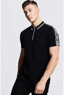 Mens Black Zip Through Polo With Snake Shoulder Panel