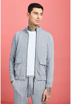 Mens Blue Prince Of Wales Check Utility Harrington