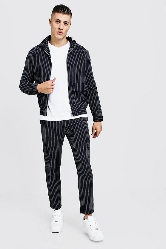 Navy Pinstripe Utility Smart Twin Set