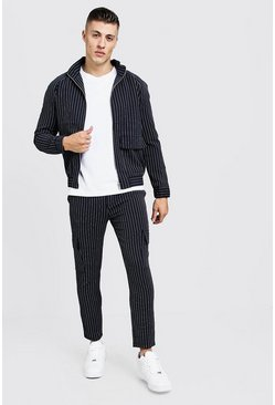 Mens Navy Pinstripe Utility Smart Twin Set