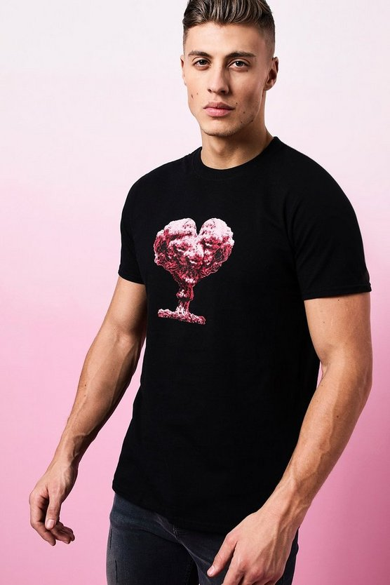 Valentines Heart Cloud Printed T-Shirt