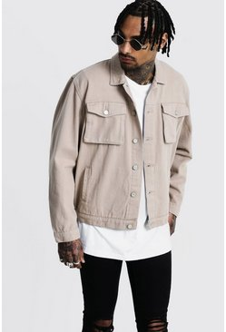 Mens Taupe Boxy Denim Utility Jacket