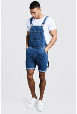 Mens Mid blue Slim Fit Short Length Dungarees