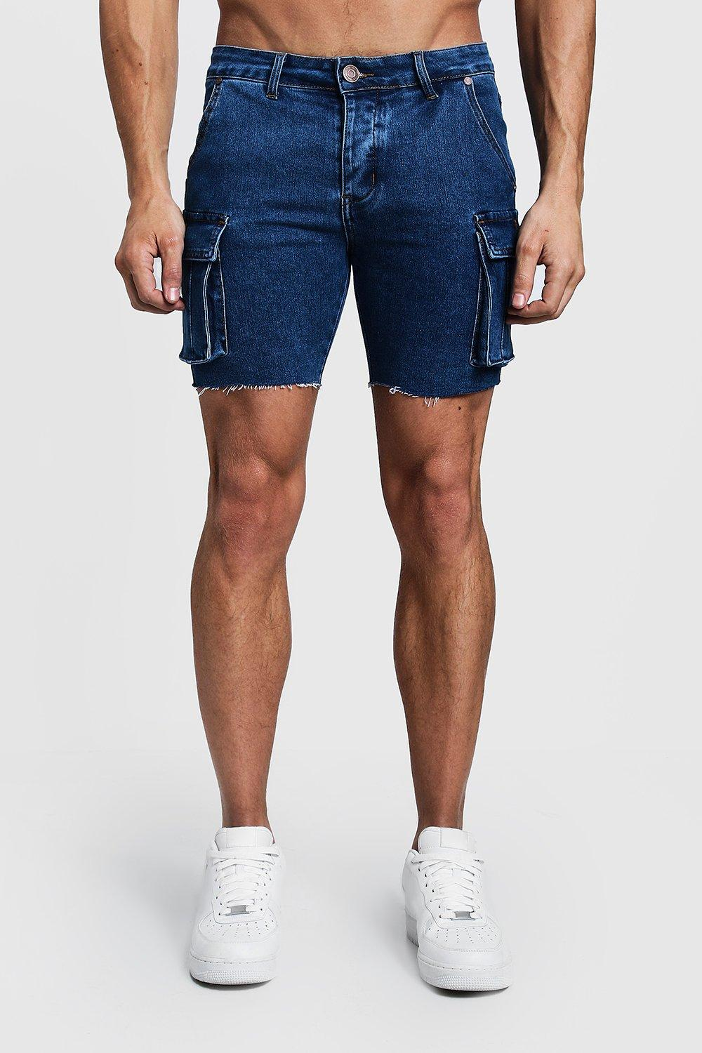 Skinny Fit Cargo Denim Shorts