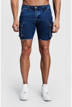 Mens Mid blue Skinny Fit Cargo Denim Shorts