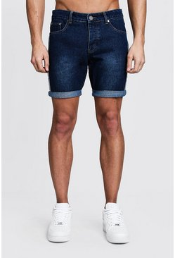 Mens Dark blue Slim Fit Tape Detail Denim Shorts