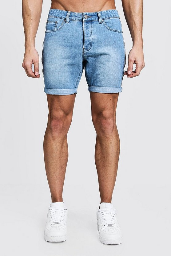 Mens Vintage wash Slim Fit Tape Detail Denim Shorts