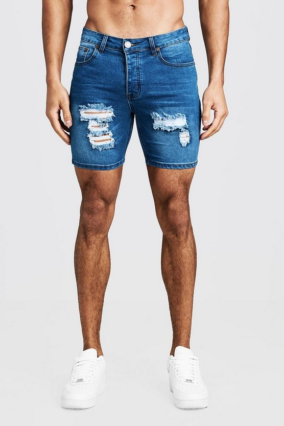 Herr Mid blue Skinny Fit Denim Shorts With Distressing