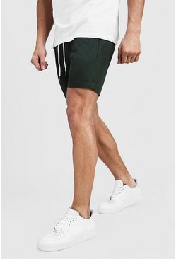 Mens Khaki Slim Fit Rugby Chino Shorts