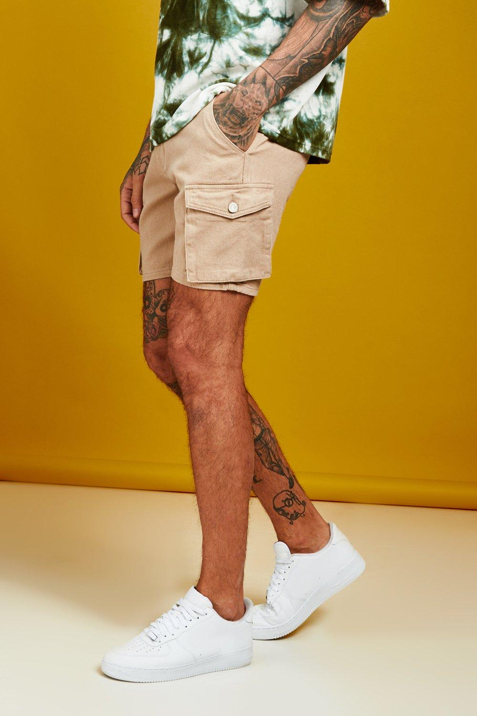 Slim Fit Cargo Denim Shorts