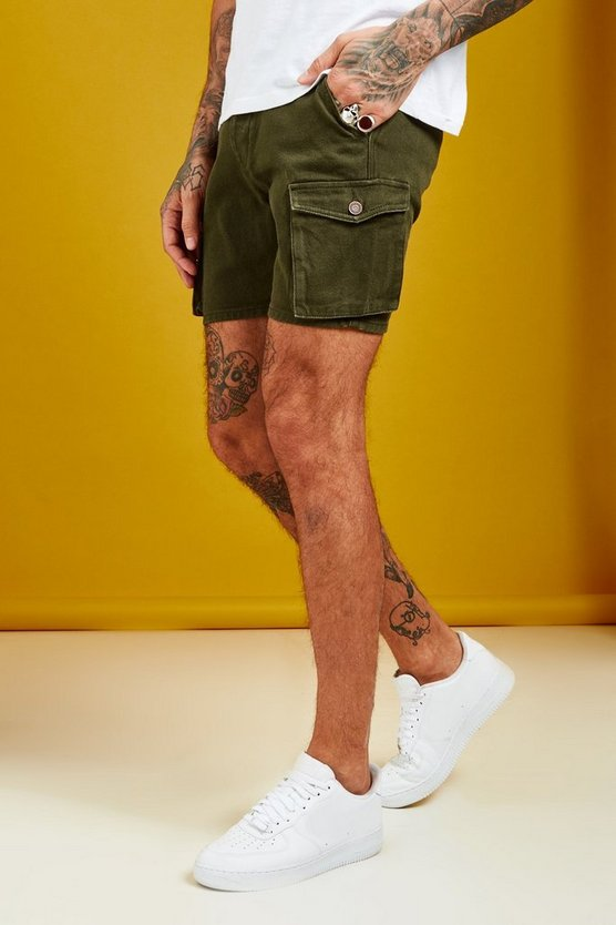 Mens Khaki Slim Fit Cargo Denim Short