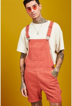 Mens Terracotta Slim Fit Short Length Dungarees
