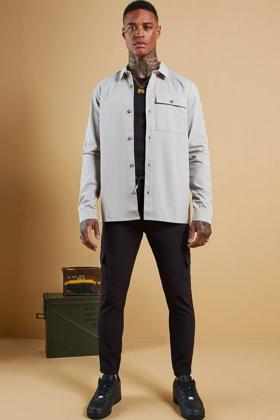 Mens Ash Cotton Twill Utility Button Through Shacket