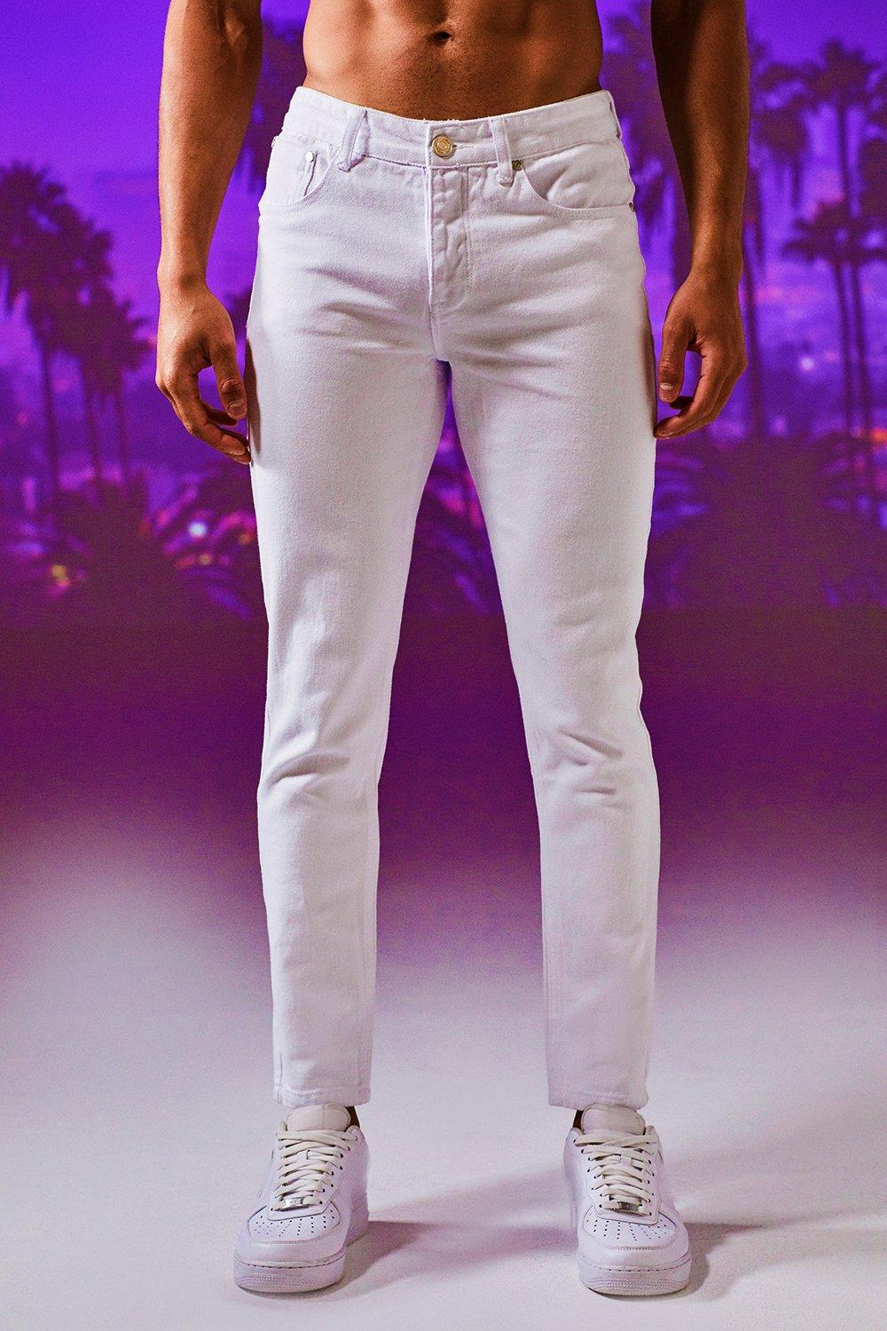 Tapered Fit White Denim Jeans