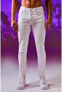 Mens Tapered Fit White Denim Jeans